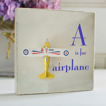 A is for Airplane Art Block