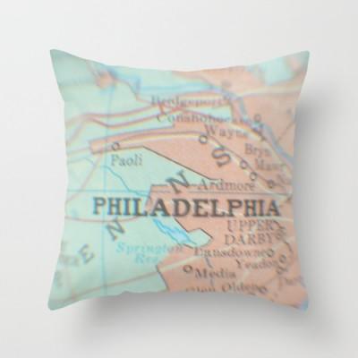 Philadelphia Map Pillow
