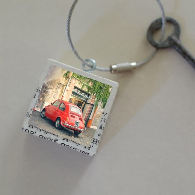 Red Fiat Keychain