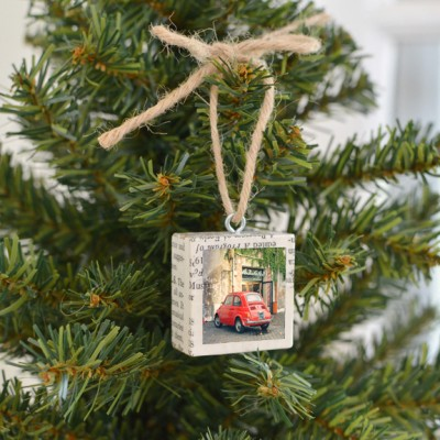 Red Fiat Ornament
