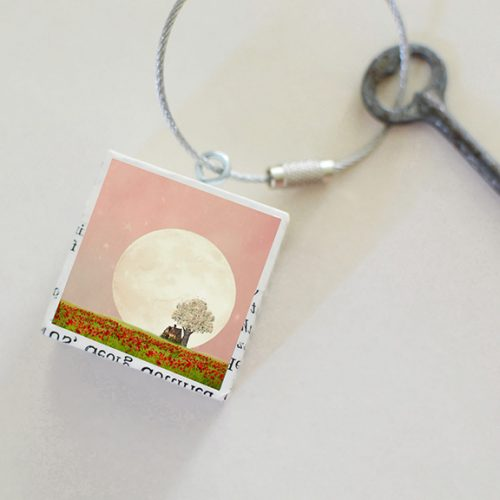 Strawberry Moon Keychain