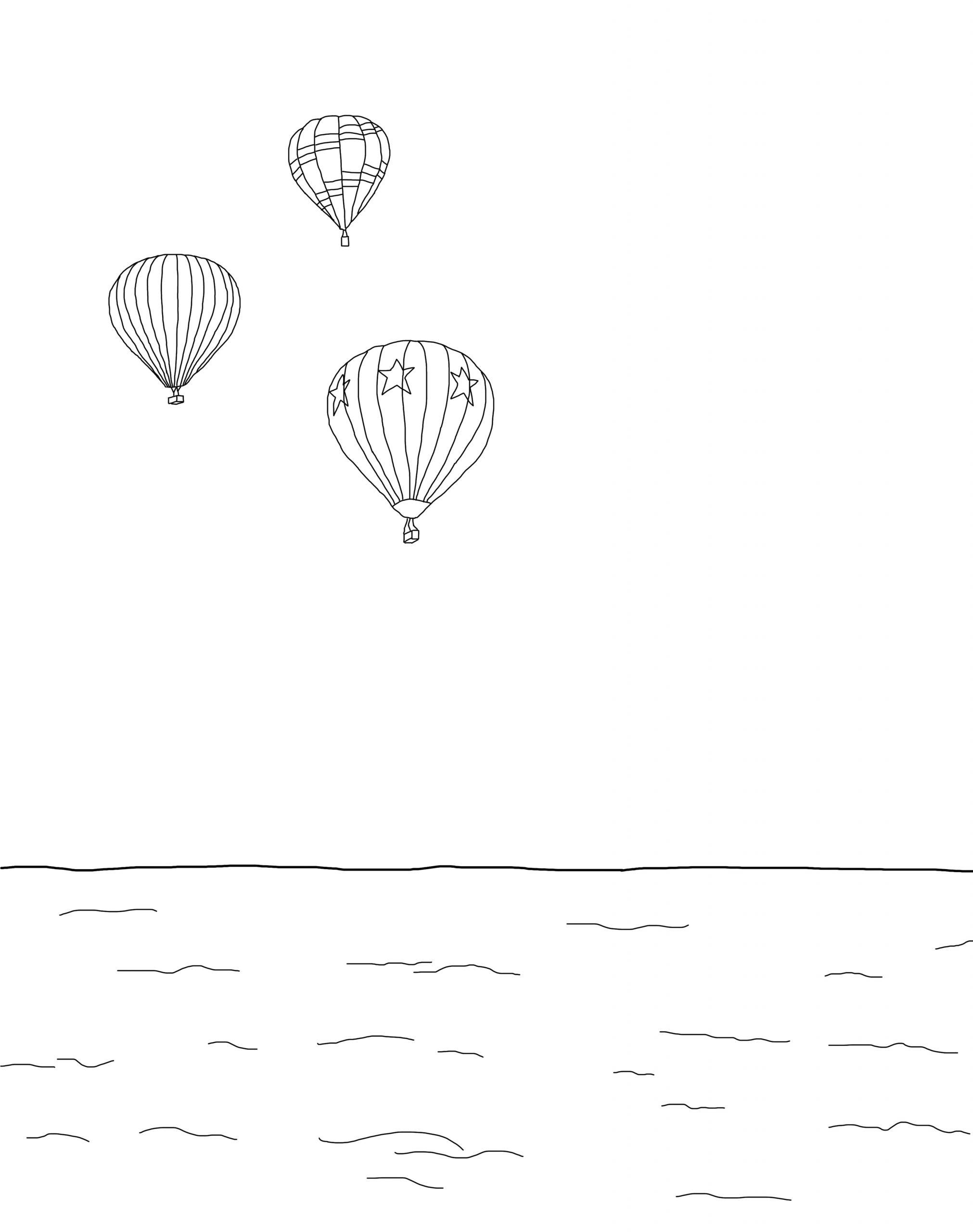 Balloons At Sea Coloring Page