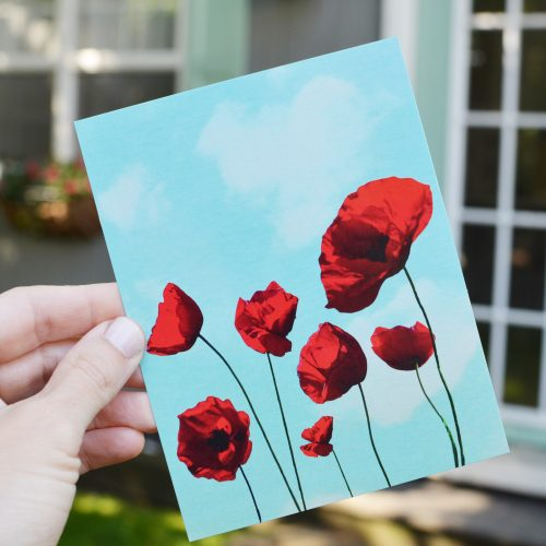 Poppies Notecard in Hand